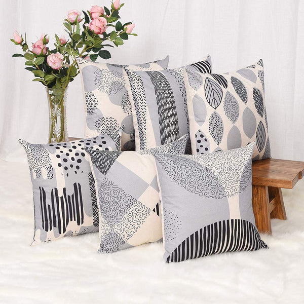 YINNAZI Modern Geometric Pattern Throw Pillow Covers Square Cushion Case for Couch Decorative Pillowcase for Home Decor Set of 6 Solid Color (Grey)