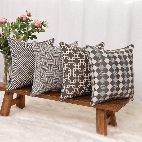 YINNAZI Geometric Stripe Double-Side Weave Pattern Throw Pillow Cover, Thickened Durable Cotton Polyester, Square Cushion Case for Couch Chair Bench Sofa Farmhouse, 18x 18 Inch, Set of 4, (Brown)