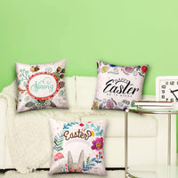 Chuangdi 4 Pieces Easter Pillow Case Printed Rabbit Egg Cushion Cover Holiday Pillow Decoration for Easter Supplies (Set 3)