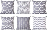 Modern Homes Grey 100% Cotton Decorative Throw Pillow Covers Cushion Cases 16 x 16 inch (Gray, Set of 6)