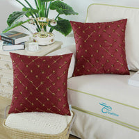 CaliTime Pack of 2 Cushion Covers Throw Pillow Cases Shells for Sofa Couch Home Decoration 18 X 18 Inches Modern Diamonds Shape Geometric Chain Embroidered Deep Red