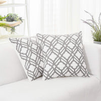 HWY 50 Grey Gray Embroidered Decorative Throw Pillow Covers Set Cushion Cases for Couch Sofa Living Room 18 x 18 inch Pack of 2 Geometric