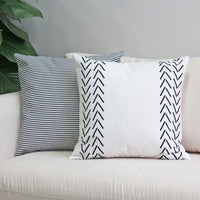 JOJUSIS Decorative Throw Pillow Covers for Couch Sofa Bed Set of 6 Modern Design Stripe Geometric 100% Faux Leather 18 x 18 Inch