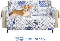 "Wake In Cloud - Sofa Cover 100% Waterproof Non-Slip, Pets Dogs Cats Kids Furniture Protector 2 Cushion Couch Slip Cover, Elastic Strap, Blue White Moroccan Tiles Mosaic Patchwork (54"" Loveseat)"