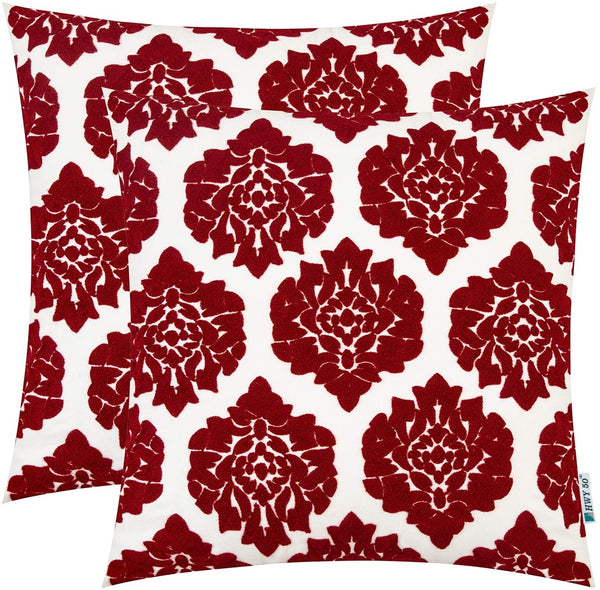 HWY 50 Embroidered Decorative Throw Pillows Covers Set Cushion Cases for Couch Sofa Living Room Wine Red 18 x 18 inch Simple Geometric Floral Pack of 2