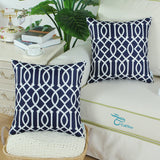 CaliTime Pack of 2 Canvas Throw Pillow Covers Cases for Couch Sofa Home Decoration Modern Geometric Figure Chain Both Sides 18 X 18 Inches Navy Blue