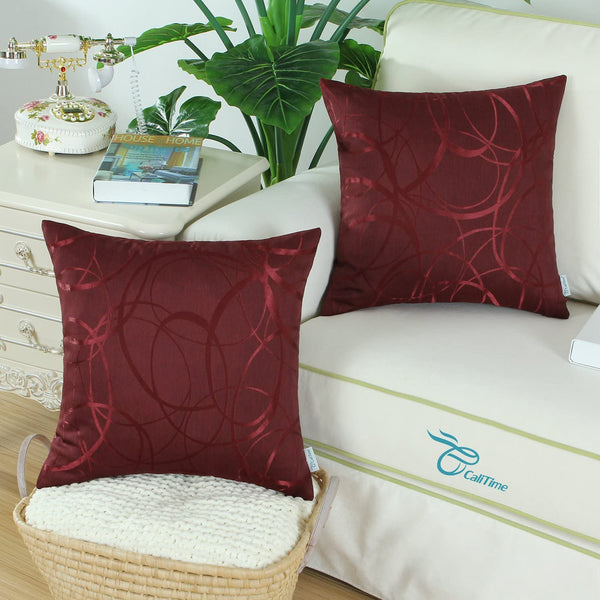 CaliTime Pack of 2 Cushion Covers Throw Pillow Cases Shells for Couch Sofa Home Decor Modern Shining & Dull Contrast Circles Rings Geometric 20 X 20 Inches Burgundy