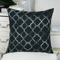 CaliTime Pack of 2 Faux Silk Throw Pillow Covers Cases for Sofa Couch Home Decoration 18 X 18 Inches Gradient Quatrefoil Accent Geometric Chain Embroidered Gray