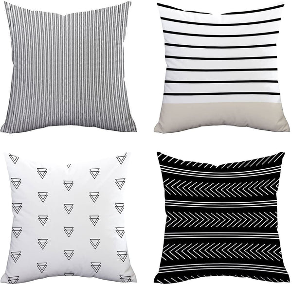 "Set of 4 Pillow Covers Stripe Pattern Throw Pillow Case Daily Decorations Sofa Throw Pillow Case Cushion Covers Zippered Pillowcase 18"" x 18"""