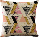 WOMHOPE 4 Pcs Black & Pink Geometric Throw Pillow Covers Cases Cotton Linen Burlap Square Decorative Cushion Covers Pillowcase Cushion Case for Sofa,Couch 18 x18 Inches (Black Pink (Set of 4))