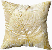 KIOAO Throw Pillow Covers,20x20 Pillow Case, Standard Soft Square Throw Pillowcase Covers Pattern with Tropical Leaf Palm Printed with Both Sides,Golden White
