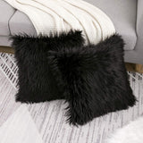 WLNUI Decorative Black Fluffy Pillow Covers New Luxury Series Merino Style Faux Fur Throw Pillow Covers Fuzzy Cushion Cover 16x16 Inch