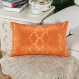 CaliTime Pack of 2 Cushion Covers Bolster Pillow Cases Shells for Home Sofa Couch Modern Shining & Dull Contrast Quatrefoil Accent Geometric 12 X 20 Inches Amber Gold