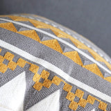 Vanncio Embroidered Decorative Pillow Covers, Modern Home Geometric Textured Throw Pillowcases for Sofa Couch Bed Decoration, 18x18 inches, Set of 2 (Golden Gray)