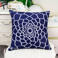 CaliTime Pack of 2 Soft Canvas Throw Pillow Covers Cases for Couch Sofa Home Decor Dahlia Floral Outline Both Sides Print 18 X 18 Inches Navy Blue