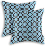 CaliTime Pack of 2 Faux Silk Throw Pillow Covers Cases for Couch Sofa Home Decor Two-Tone Circles Rings Geometric Chain Embroidered 18 X 18 Inches Light Blue