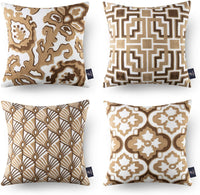 Phantoscope Set of 4 Geometric Series Throw Pillow Case Cushion Cover Light Coffee 18 x 18 inches 45 x 45 cm