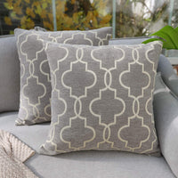 DECOMALL Super Soft Decorative Square Throw Pillow Covers Moroccan Geometric Trellis Cushion Cases Set for Couch Sofa Bedroom, 18 x18 inches, Grey, Pack of 2
