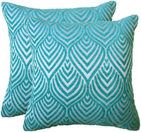 Original Pro Decorative Pillow Covers Chenille Plush Velvet Pillow Covers Geometric Textured Waves Striped Pillow Cases for Sofa Couch Bed 18x18 inches Pack of 2 Teal