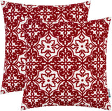 HWY 50 Embroidered Decorative Throw Pillows Covers Set Cushion Cases for Couch Sofa Bed 18 x 18 inch Burgundy Modern Floral Geometric Pack of 2