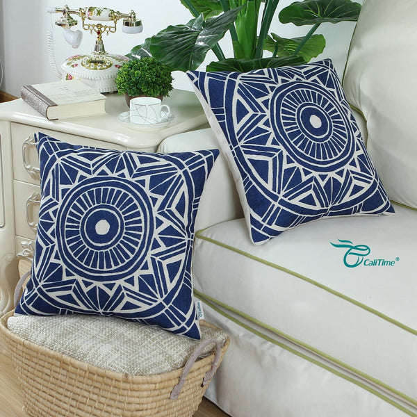CaliTime Canvas Throw Pillow Cover Case for Couch Sofa Home Decoration Modern Compass Geometric 18 X 18 Inches Navy Blue