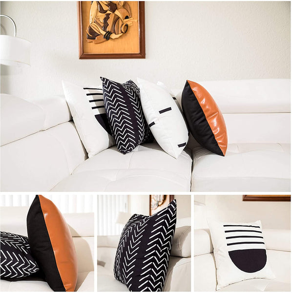 Acesolv Decor Decorative Throw Pillow Covers for Couch,Set of 4 18x18, Modern Boho Pillows, Sofa/Couch Pillow Set of 4, 2 Sided Faux Leather 100% Cotton Modern Design Striped Geometric Pillow Covers