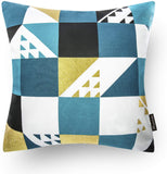 Phantoscope Set of 4 100% Cotton Blue Gilding Gold Geometric Decorative Throw Pillow Case Cushion Cover 18 x 18 inches 45 x 45 cm
