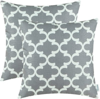 CaliTime Pack of 2 Soft Canvas Throw Pillow Covers Cases for Couch Sofa Home Decor Modern Quatrefoil Accent Geometric 20 X 20 Inches Grey