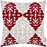 HWY 50 Burgundy Decorative Embroidered Throw Pillows Covers Cushion Cases for Couch Sofa Bed Wine Red Grey 18 x 18 inch Accent Geometric Floral 1 Piece