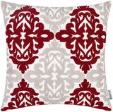 HWY 50 Burgundy Decorative Embroidered Throw Pillows Covers Cushion Cases for Couch Sofa Bed Wine Red Grey Gray 18 x 18 inch Accent Geometric Floral Decor 1 Piece