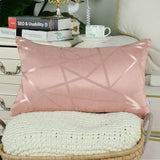 CaliTime Pack of 2 Throw Pillow Covers Cases for Couch Sofa Home Decor Modern Shining & Dull Contrast Triangles Abstract Lines Geometric 18 X 18 Inches Dusty Pink