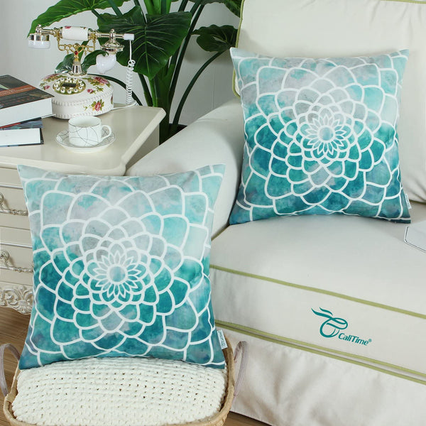CaliTime Pack of 2 Cozy Fleece Throw Pillow Cases Covers for Couch Bed Sofa Manual Hand Painted Print Colorful Dahlia Compass 20 X 20 Inches Teal