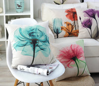 Geepro 18 x 18 inches Floral Decorative Throw Pillow Cover Set Flower Sofa Cushion Covers Set of 4 (Blue)