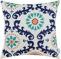 CaliTime Canvas Throw Pillow Cover Case for Couch Sofa Home Decoration Three-Tone Dahlia Floral Compass Geometric 20 X 20 Inches Turquoise/Yellow/Gray