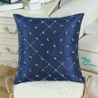 CaliTime Pack of 2 Cushion Covers Throw Pillow Cases Shells for Sofa Couch Home Decoration 18 X 18 Inches Modern Diamonds Shape Geometric Chain Embroidered Navy Blue