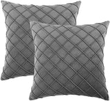Longhui bedding Velvet Grey Throw Pillow Cover, 18 x 18 Inches Decorative Throw Pillows for Couch Sofa Bed, Gray Square Cushion Covers with Zipper Closure – Set of 2