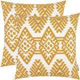 HWY 50 Yellow Embroidered Decorative Throw Pillows Covers Set Cushion Cases for Couch Sofa Living Room 18 x 18 inch Pack of 2 Accent Rhombus Geometric Decor