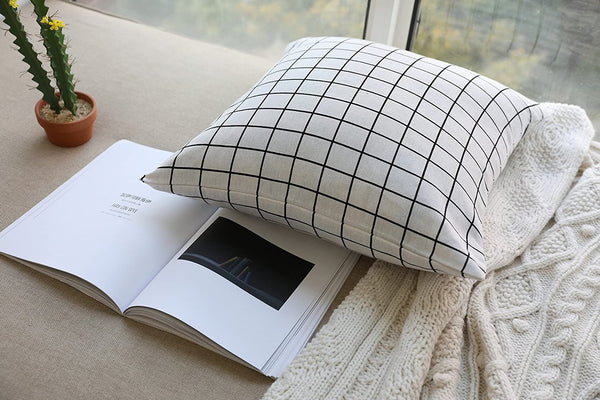 100% Cotton Linen Euro Lumbar Throw Pillowcase Cushion Covers Decorative Modern Grid Pattern Pillow Cover with Invisible Zipper for Living Room Office and Couch, Square 18×18in/45x45cm (White)