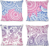 Sinpooo Spring Decorative Throw Pillow Covers, Geometric Mandala Floral Pillowcases 18 X 18 Inch Set of 4, Cotton Linen Pillows Covers for Sofa, Couch and Bed (4 Pack Purple)