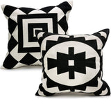 Ekka Moderna Throw Pillow Covers - Black and Beige Decorative Pillow Covers Set of 2 18x18 in for Couch, Sofa, Living Room, Bed