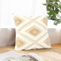 Sungea Geometric Throw Pillow Covers, 18x18 Inch, Boho Modern Tribal Gold and White Diamond Tufted Couch Cushion Case for Bedroom Living Room Sofa Wedding Decoration