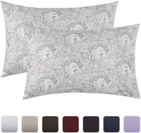 Mellanni Luxury Pillowcase Set - Brushed Microfiber Printed Bedding - Wrinkle, Fade, Stain Resistant - Hypoallergenic (Set of 2 Standard Size, Quatrefoil Silver - Gray)