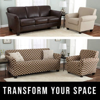Home Fashion Designs Printed Twill Sofa Slipcover. One Piece Stretch Couch Cover. Strapless Sofa Cover for Living Room. Brenna Collection Slipcover. (Sofa, Chocolate)