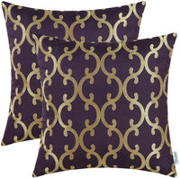 CaliTime Pack of 2 Throw Pillow Covers Cases for Couch Sofa Home Decoration Modern Quatrefoil Geometric Trellis Chain 18 X 18 Inches Burgundy/Gold