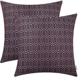 BRAWARM Pack of 2 Soft Jacquard Throw Pillow Covers Cases for Couch Sofa Home Decoration Geometric Chevron Figure 18 X 18 Inches Black