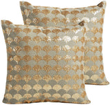 "MOTINI Throw Pillow Covers Set Pack of 2 Gold Embroidered Wave Pattern Square Cushion Covers 18"" x 18"" Accent Cozy Cushion Cases 100% Cotton Decorative Textured Mid-Century Pillowcases"