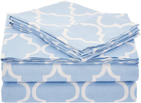 Superior 100% Cotton Trellis Geometric Bedding, Pillowcase Set of 2, Soft and Breathable Cotton Bed Set, 300 Thread Count - Standard, Light Blue