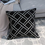 DECOMALL Super Soft Moroccan Geometric Trellis Decorative Square Floor Pillow Cover Cushion Case, 26x26 inches, Black