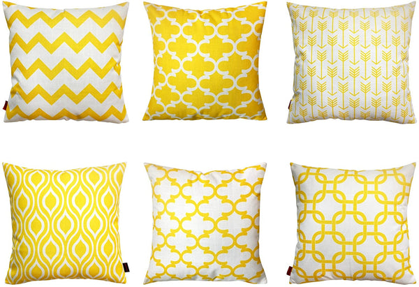 Howarmer Modern Geometric Decorative Cotton Canvas Throw Pillow Covers Set, 18 x 18 Inches, 6 Pack (18 x18-Inch, lemon yellow)