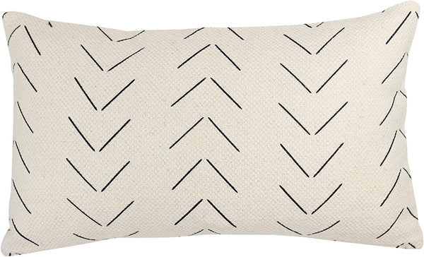 Woven Nook Decorative Lumbar Throw Pillow Cover ONLY for Couch, Sofa, or Bed 12x20 12x26 12x40 inch Modern Quality Design 100% Thick Woven Cotton Mudcloth MAZA Lumbar (12'' x 20'')